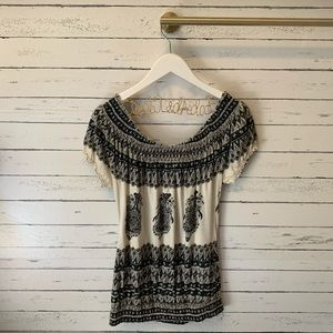 Lucky Brand Tops - Lucky Brand Black and Cream Paisley Smocked Top